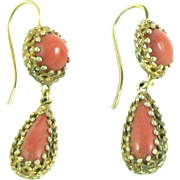 Coral Drop Earrings Gold Over Silver Etruscan Revival