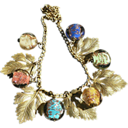 Murano Glass Brass Leaf Necklace Retro 1940s
