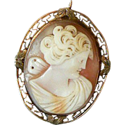 REDUCED Victorian 10K Gold Pin Pendant Carved Shell Cameo of Psyche