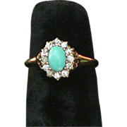 Turquoise Diamond 14K Gold Victorian Ring 6.5