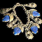 Molded Glass Brass Charm Bracelet 1940s Retro