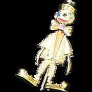 Les Bernard Vogue Clown Pin Sterling Gold Vermeil