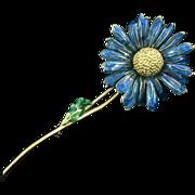 18K Gold Enamel Flower Brooch