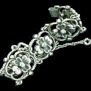 Max Rieg Modern Sterling Silver Floral Link Bracelet