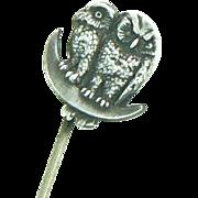 Owls Stickpin Sterling Henry Atkin & Co