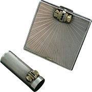 Tiffany Art Deco Compact and Lipstick Sterling Silver 14K Gold Sapphires Original Leather Case