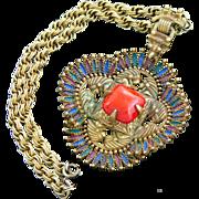 Castlecliff Pendant Necklace Kissing Indians Coral Glass Center