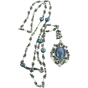 Dyed Blue Jasper Silver Chain and Pendant Filigree 1930s