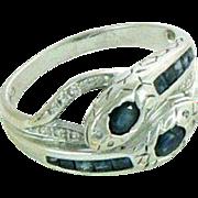 Art Deco Style 18K Sapphire Diamonds Double Snake Ring