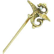 Stick Pin 10K Dragon Wings Fish Pearl Art Nouveau Mythical Creature