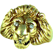 14K Gold Diamond Vintage Lion Ring