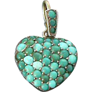 Victorian Turquoise Silver Heart on Original Sterling Chain