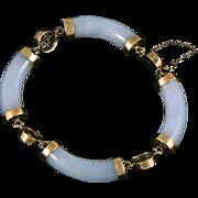 Jade Pale Burmese Jadeite 14K Segmented Bracelet with Chinese Characters