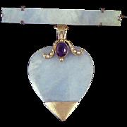 Jade Pale Burmese Jadeite Heart Pendant 10K Gold Amethyst Seed Pearls Bar Pin Victorian ...