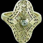 14K Gold Ring Diamond Filigree Style