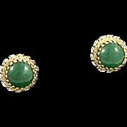 Elegant Jade 14K Gold Earrings