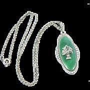 Austrian Flower Basket Pendant Guilloche Enamel Marcasites Sterling Silver