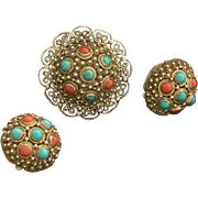 Chinese Brooch and Earring Set Silver with Turquoise and Coral Gold Vermeil