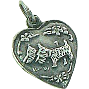 Scottie Dog Puffy Heart Sterling Silver