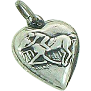Puffy Heart Horse Charm Sterling Silver