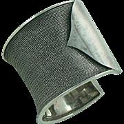 Handsome Sterling Cuff Bracelet Modern Solid Mesh