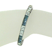 """Art Deco 1/4"""" Channel Set Blue and White Sterling Silver Hinged Bangle Bracelet"""