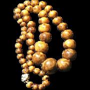 Marbleized Amber Bakelite Beads