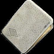 Elgin Sterling Silver Cigarette Case Gold Washed Hand Hammered