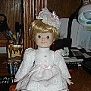 "REDUCED 15"" Porcelain and Cloth ""Googly"" Looking Doll"