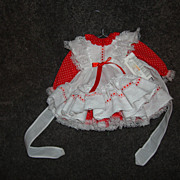 SALE Small Red and White Doll Dress