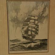 GORDON GRANT (1875-1962) American marine art pencil signed lithograph print of clipper ship