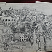 ELSIE MAE FORD (1901-) Southern art listed New Mexico artist double-sided drawing of Eureka ..
