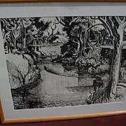 MILFORD ZORNES (1908-2008) California Scene art black ink watercolor painting of river and tre
