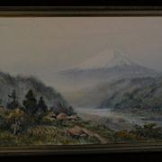 Japanese art 20th century watercolor painting of Mount Fuji signed HIROSHI