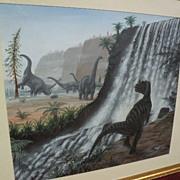 Natural History original art detailed prehistory dinosaurs painting by English artist RICHARD