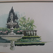 JAKE LEE (1915-1991) California Scene school watercolor art painting of a fountain