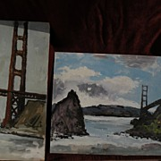 TED CHRISTENSEN (1911-1998) listed California art PAIR of paintings of the Golden Gate Bridge
