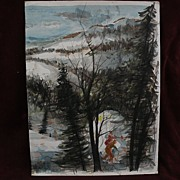 ERNEST SCANES (1909-) listed Michigan artist watercolor painting of winter skiers