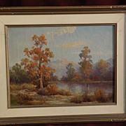 HERBERT SARTELLE (1885-1955) California plein air art autumn mountain landscape painting