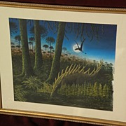 Natural history detailed painting of dinosaurs in a swamp by English artist RICHARD BIZLEY (19