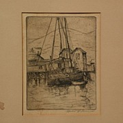 Northern California art pencil signed waterfront etching by listed artist HERBERT IMRIE (1885-
