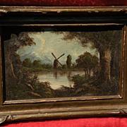RICHARD DETREVILLE (1864-1929) Northern California art framed oil landscape including windmill