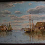WILLIAM FREDERICK PASKELL (1866-1951) noted Massachusetts artist New England marine art harbor