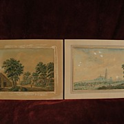 PAIR of circa 18th century Dutch detailed watercolor landscape drawings, subject identified as