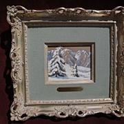 FRANK CUPRIEN (1871-1948) California plein air art framed gouache on paper mountain snow lands