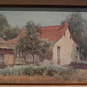 JAKOB KOCH (1876-1962) vintage California art watercolor painting of an early adobe house with