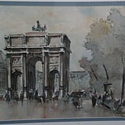 JULES ADLER (1865-1952) French art watercolor and ink drawing of Parisian scene by well listed