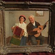 CLAUDIO RINALDI (1852-) listed 19th century Italian art genre painting of peasants