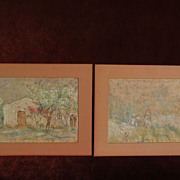 ALBERT LOREY GROLL (1866-1952) noted Southwestern American painter PAIR of pastel drawings of