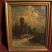 GEORGE HERBERT MCCORD (1848-1909) American art 19th century nocturne scene oil painting